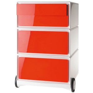 Rollcontainer easyBox, 2 Schübe, 1 Doppelschublade, weiß/rot
