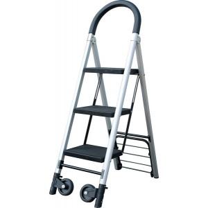 Handkarren-Leiter-Kombination, 3 Stufen, aluminium/schwarz