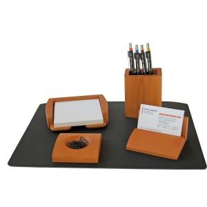 Edles Schreibtisch-Set 5-teilig Naturholz, Kirsche hell