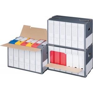 Archivbox für Ordner, grau, mit perforiertem Frontdeckel zum öffnen