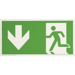 Warnschild Rettungsweg, Pfeil nach unten, nachtleuchtend, Folie,