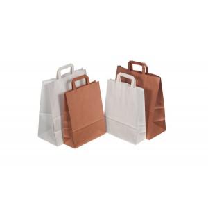 Tragetasche Papier, weiß, gefalteter Papiergriff, Maße: 260x100x330 mm