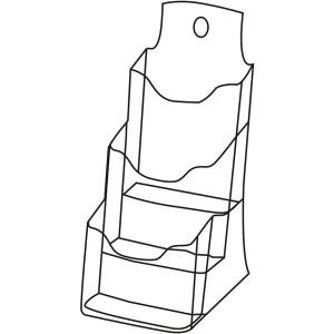 Tischprospekthalter glasklar Acryl 3 Fächer Din Lang hoch, freistehend