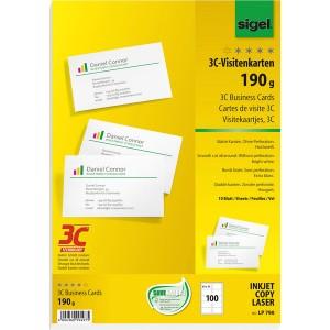 Visitenkarte Multiprint 190g weiss f. InkJet, Laser, Kopierer