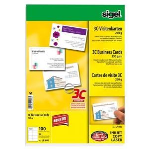 Sigel Visitenkarte 3C I+L+K 250g weiß glatter Schnitt rundum 85 x 55 mm, 100 Stk auf 10 Blatt