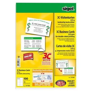 Visitenkarten 85x55mm, 225g, 3C, hochweiß Edelkarton, (I/L/K)