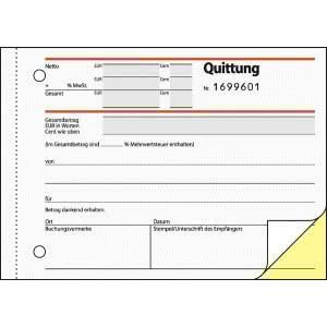 Quittung A6 quer, SD, fortlaufend nummeriert, 2x50 Blatt, 1.+2. Blatt