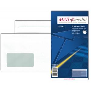 Briefumschlag kompakt, mit Fenster, SK, 75 g/qm, weiß