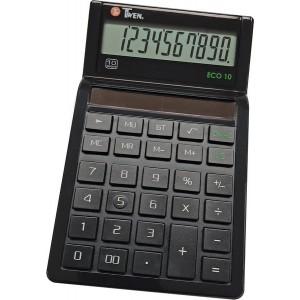Tischrechner Eco 10, Solarbetrieb, schwarz, 10-stellig, vier Grund-
