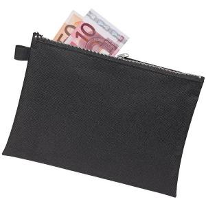 Bank- und Transporttasche A5, schwarz, mit Metallreißverschluss