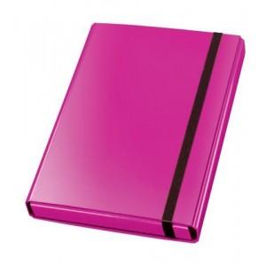 Sammelbox Velocolor A4, pink, 3 feste Innenklappen, Gummiband,