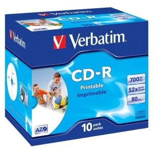 Rohling CD-R 80 Min. 700MB,52-fach Inkjet printable in Jewel Case