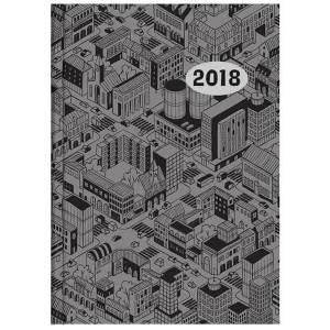 Taschenkalender 10 x 14 cm, Grau mit Stadtmotiv # 640-2803