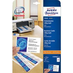 Visitenkarten unbeschichtet, weiß, 185g 185 g, 85x54 mm, MP, 25Bl=250Karten