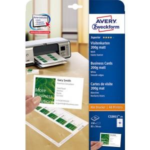 Visitenkarten 200g, Quick u. Clean, 85x54 mm, unbeschichtet, weiß