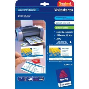Visitenkarten 220g, Quick u. Clean, 85x54 mm, satiniert, ultraweiß