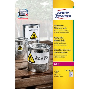Wetterfeste Folien-Etiketten, 45,7 x 21,2 mm, weiß