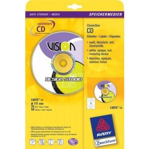 Inkjet ClassicSize CD-Etiketten, 117mm, inkl. Zentrierhilfe, weiß
