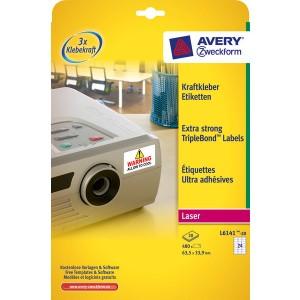 Kraftkleber-Etikett 63,5x33,9mm weiß f. permanente Anwendung 20Bl/480St