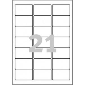 Polyester-Etiketten transparent, 63,5x38,1 mm, 25 Blatt = 525 Stück