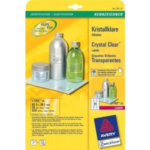 Kristallklare Etiketten 63,5x38,1mm, transparent, f. Glas o. glänzende