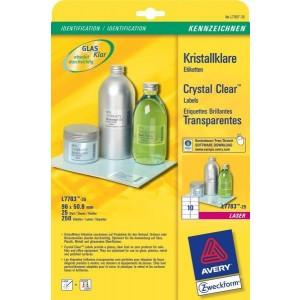 Kristallklare Etiketten 96x50,8 mm, transparent, f. Glas o. glänzende