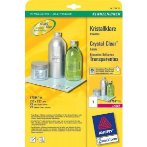 Crystal Clear Etiketten 210x297mm