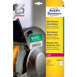 Avery Zweckform Ultra-Resistente Folienetiketten 99,1 x 67,7 mm, weiß